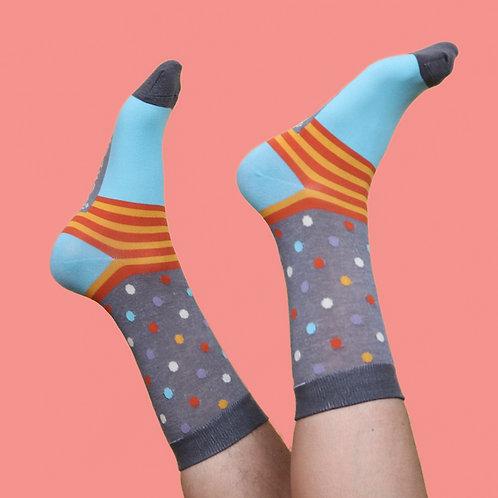 Men's Charcoal Spots Ankle Socks