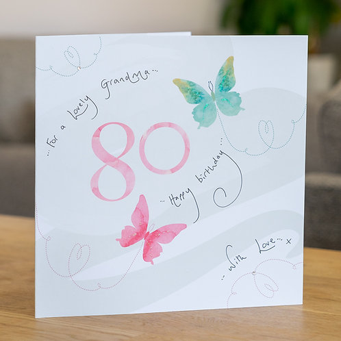 Watercolour Butterfies - Age 80 - Large Card