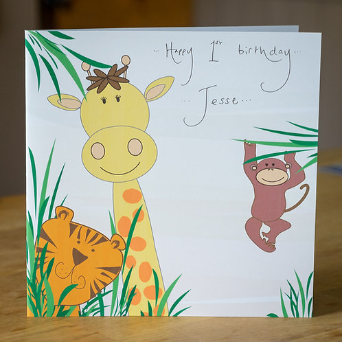 Jungle Tiger Giraffe and Monkey Design Large Square Personalised Card