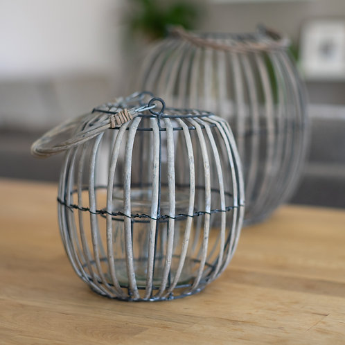 Grey Wicker/Glass Balloon Tea Light Holder - Medium