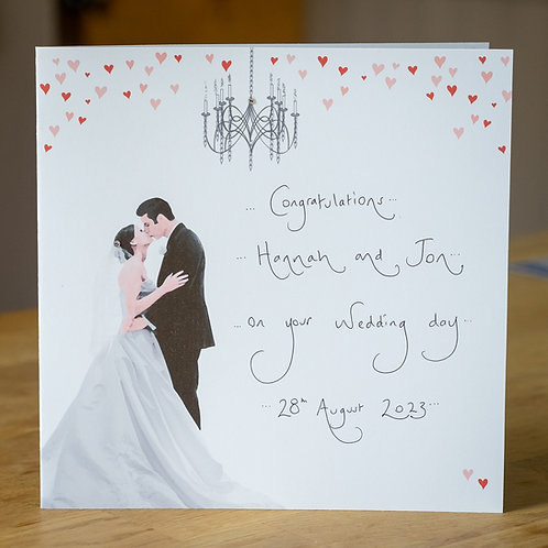Bride and Groom Design - Large Personalised Wedding Card