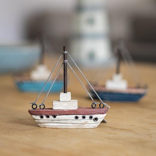Wooden Mini Sail Boat - Cream