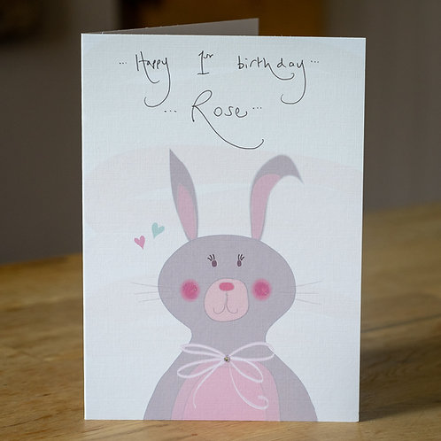 Bunny Design Personalised Card