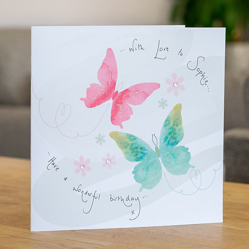 Watercolour Butterflies Design - Large Card