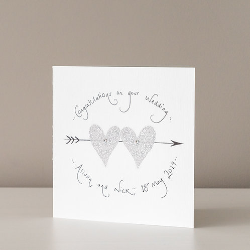Two Hearts with an Arrow and Swarovski Crystals