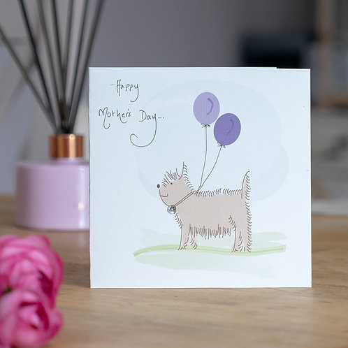 Dog with Balloons Design Mother's Day Card