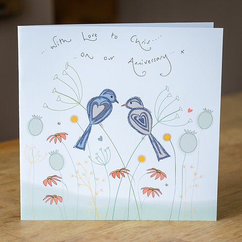 Birds And Wild Flowers Design - Large Personalised Card