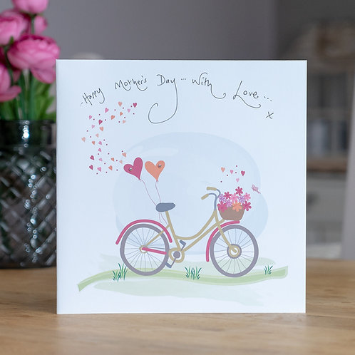 Bike with Heart Balloons Design Large Square Mother's Day Card