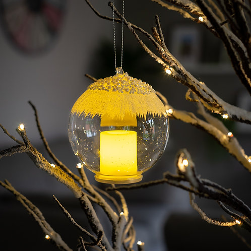 Light Up  Candle Glass Hanging Bauble