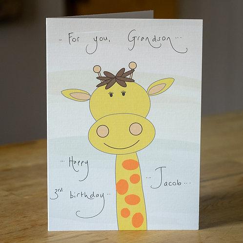 Giraffe Design Personalised Card