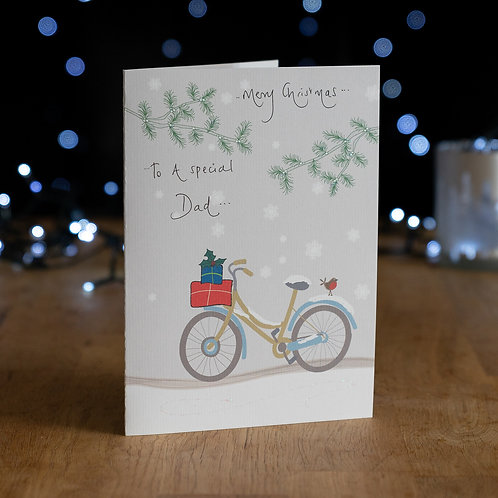 Bike Carrying Presents in the Snow Design