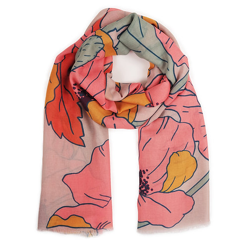 Printed Scarf Summer Poppy