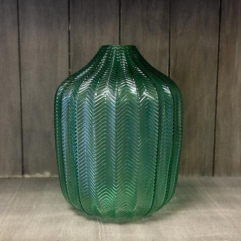 Green Glass Chevron Vase