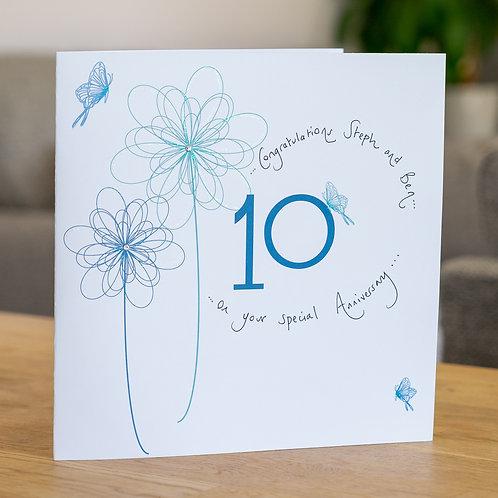 10th Anniversary Swirly Flower Design