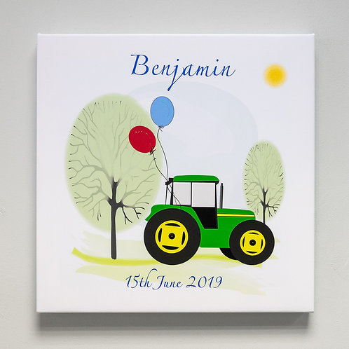 Tractor and Balloons Personalised Canvas