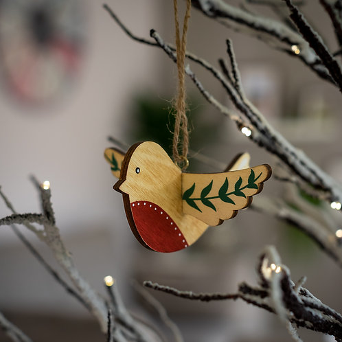 Nordic Wooden Robin Hanging Decoration