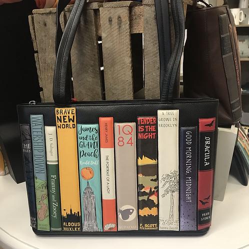 Black Leather Bookworm Library Shoulder Bag