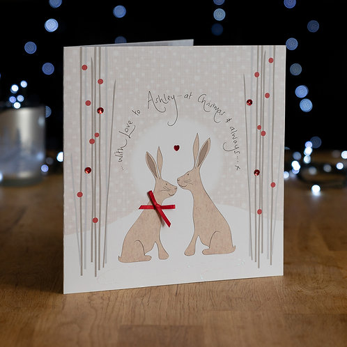 Two Hares Under Moonlight Design - Large Card