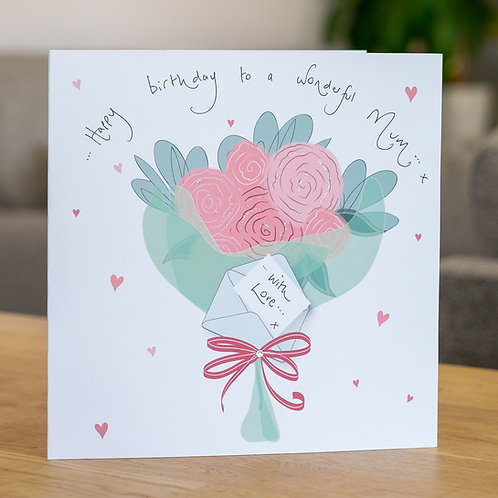 Bunch of Pink Roses Design - Large Card