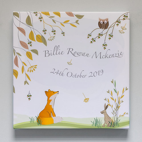 Woodland Friends Personalised Canvas