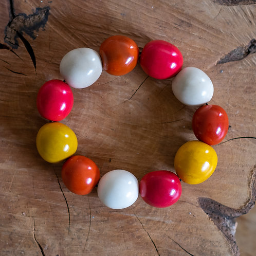 Chunky Eco Bead Bracelet - Orange, Red, Yellow and White