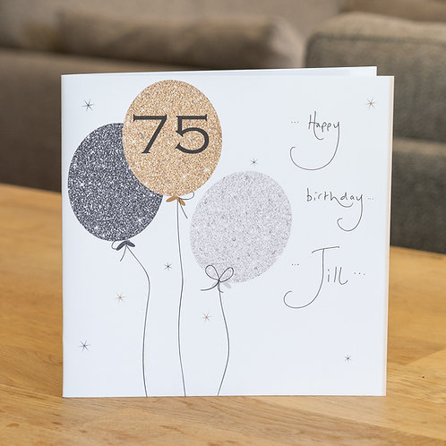 Sparkle Balloons 75 Design - Large Square Card