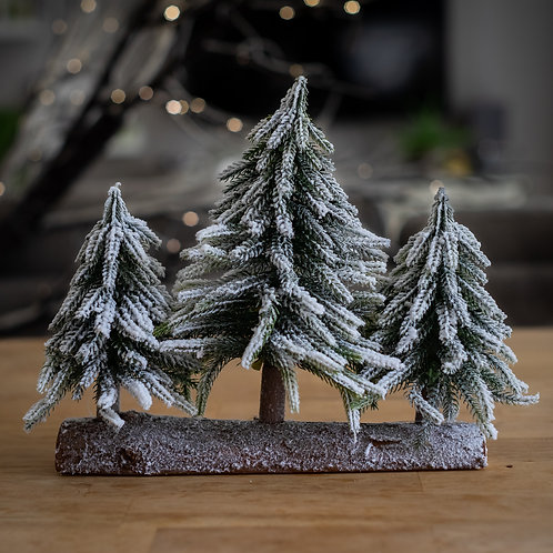 Three Snowy Christmas Trees on a Log Decoration