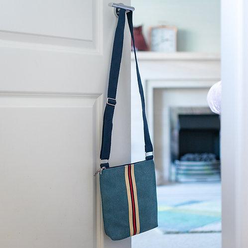 Applique Striped Design Cross the Body Bag - Blue