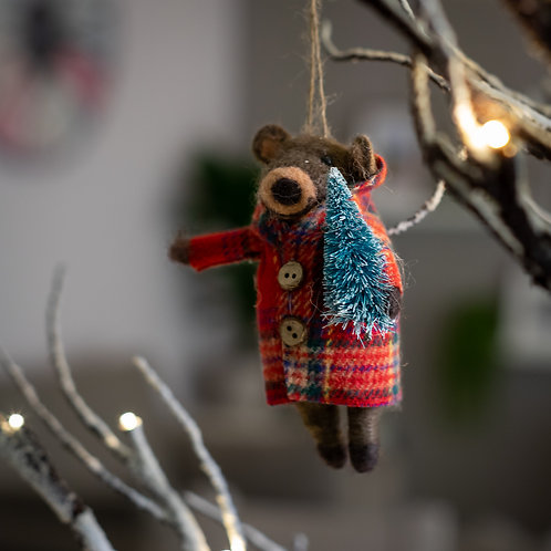 Bear in Coat with Xmas Tree Hanging Christmas Decoration