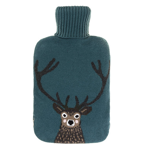 Highland Stag Knitted Hot Water Bottle by Sophie Allport