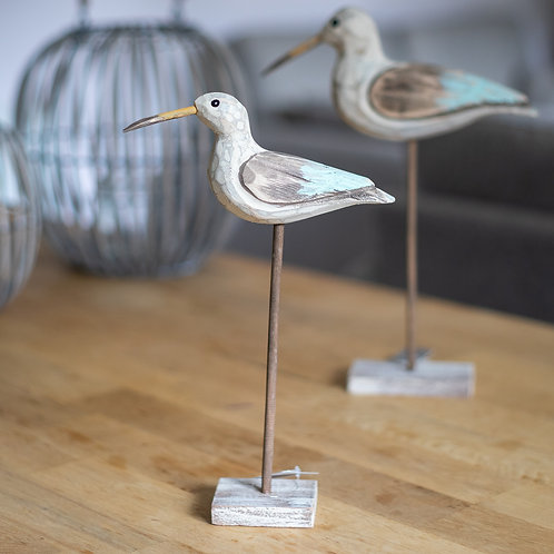 Carved Wooden Seagull On Plinth - Medium