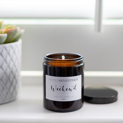 """Weekend"" Amber and Vanilla Soy Candle"