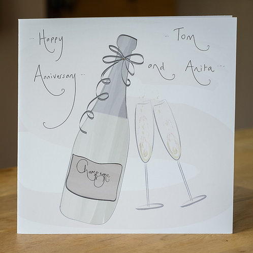 Champagne Bottle Design - Large Personalised Card
