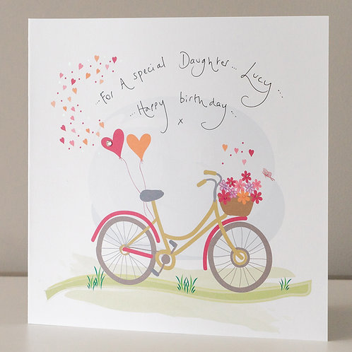 Bicycle with Flowers and Hearts Design - Large Card