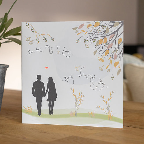 Couple Walking Design Large Square Card