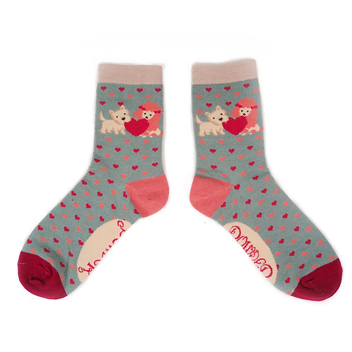 Bamboo Ankle Socks - Puppy Love