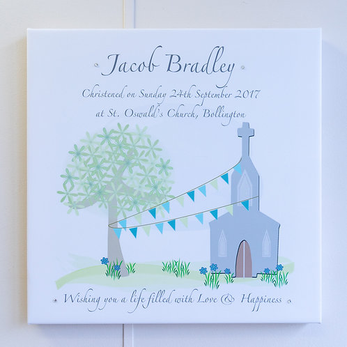 Blue or Pink Bunting Church Personalised Canvas - Medium or Large