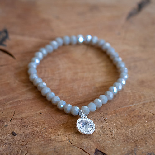 Faceted Crystal Bracelet With Charm