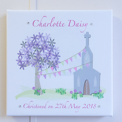 Pink or Blue Bunting Church Personalised Canvas - Small