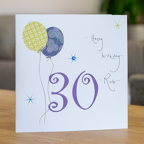 Birthday Balloon - Age 30 - Large Card