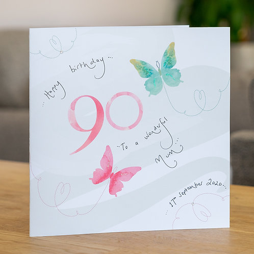 Watercolour Butterfies - Age 90 - Large Card