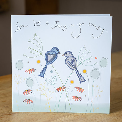 Birds And Wild Flowers Design - Large Card