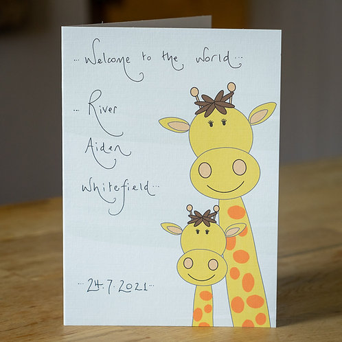 Giraffes Design New Baby Card