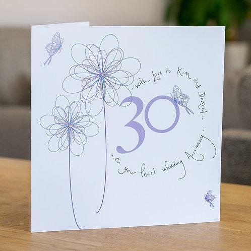 30th Anniversary Swirly Flower Design