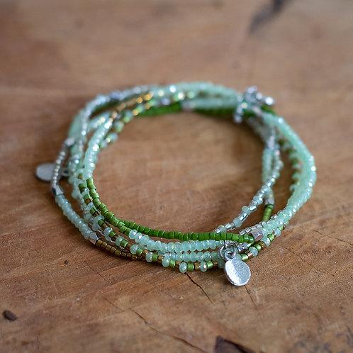 Five Strand Crystal Bead Bracelet - Green