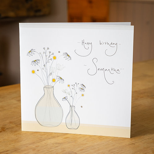 Wild Flowers Design - Large Personalised Card