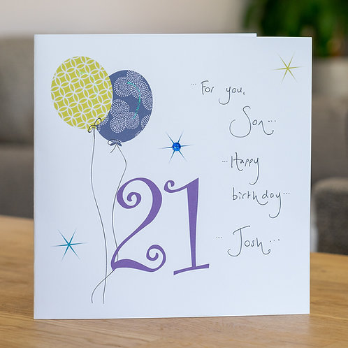 Birthday Balloon - Age 21 - Large Card