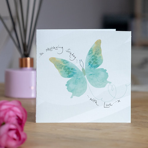 Watercolour Butterfly Design Mother's Day Card