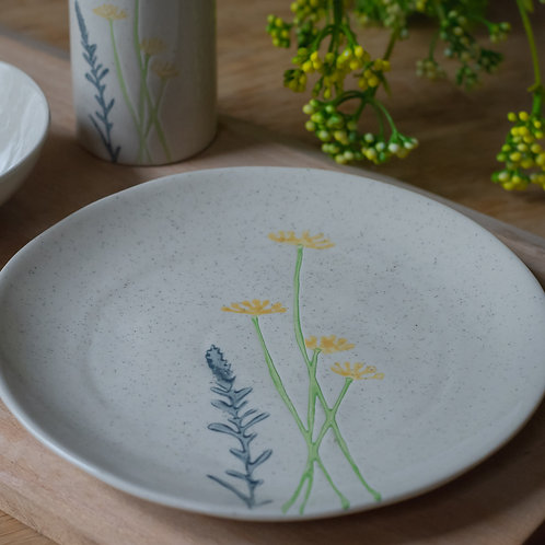 Ceramic Plate - Yellow Daisy and Lavender