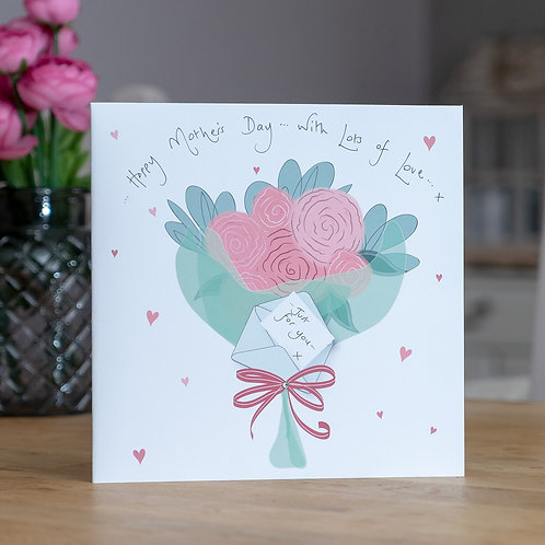 Bouquet of Roses Design Large Square Mother's Day Card